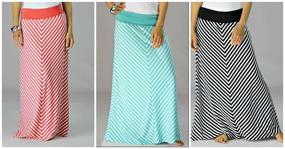 Striped Maxi skirt in Coral, Turquoise, Black