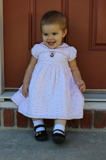 Pink and brown dotted dress