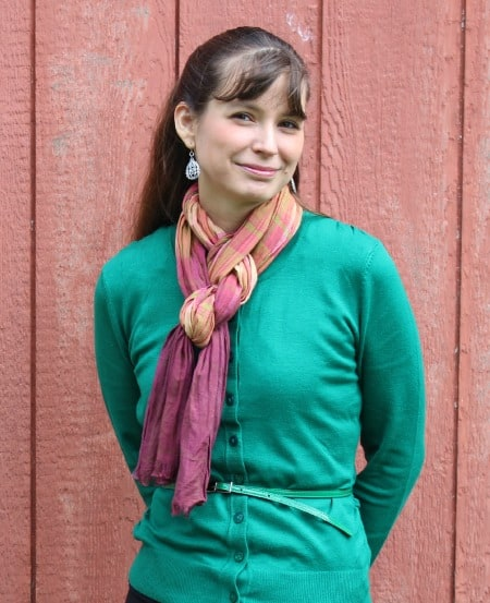 green sweater with scarf