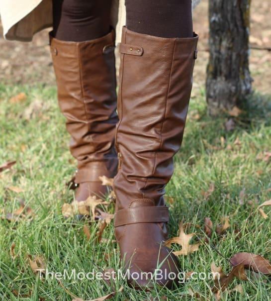 Fleece Lined Leggings and Brown Boots kept me warm! | themodestmomblog.com