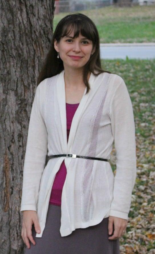 Cream cardigan with belt | themodestmomblog.com