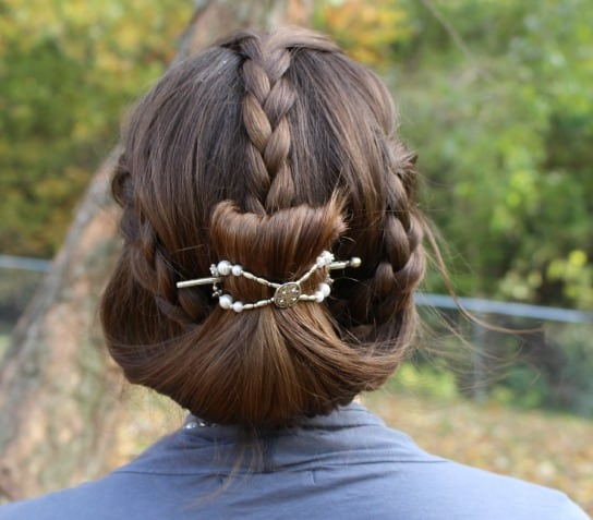 Three small braids then hair gently twisted into a flexi clip | So easy to do and the clips come in seven different sizes!  www.themodestmomblog.com