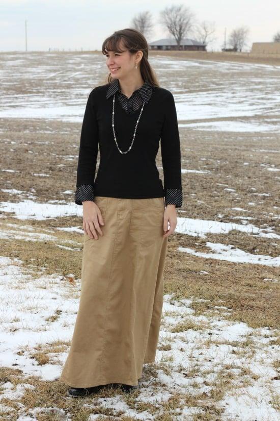 Khaki Skirt with Black Shirt