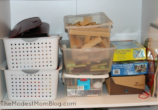 Second shelf where I organize my toys | themodestmomblog.com