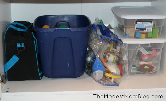 Third Shelf with toys on it. | themodestmomblog.com