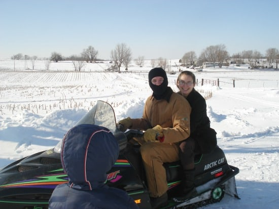 snowmobiling in the winter months