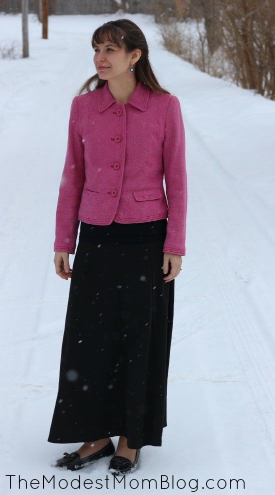 Pink Jacket with Black Skirt for Modest Monday Link Up! | themodestmomblog.com