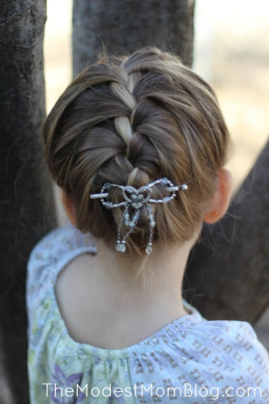 A single french braid with a size small flexi clip. | themodestmomblog.com