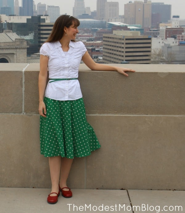 A soft and vintage looking green polka dot skirt from Deborah and Co! | themodestmomblog.com