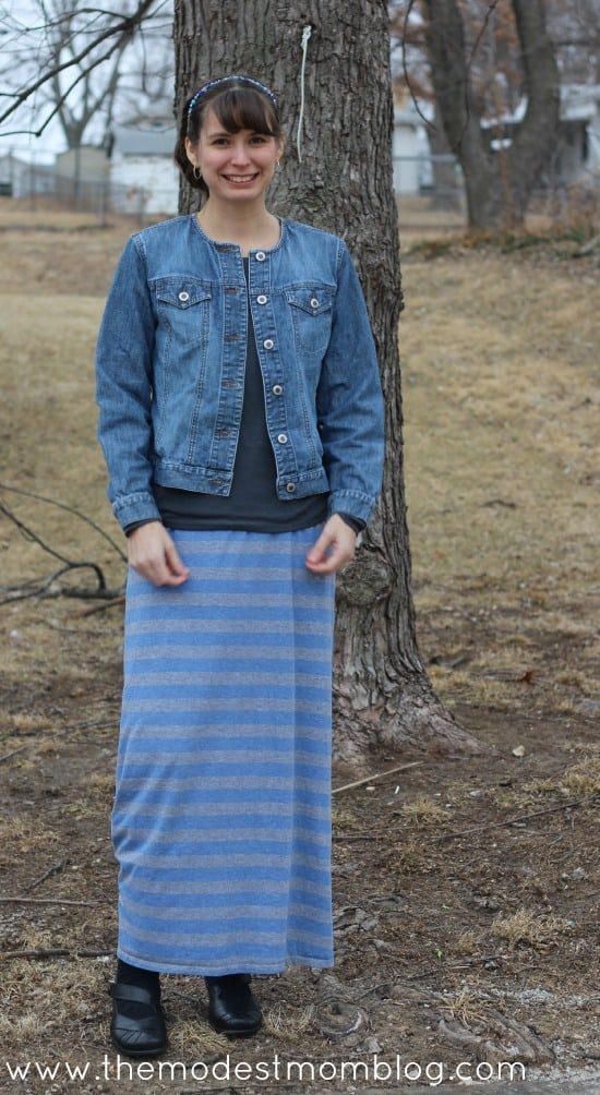 Knit Maxi Skirt and Denim Jacket for Modest Monday Outfit | themodestmomblog.com