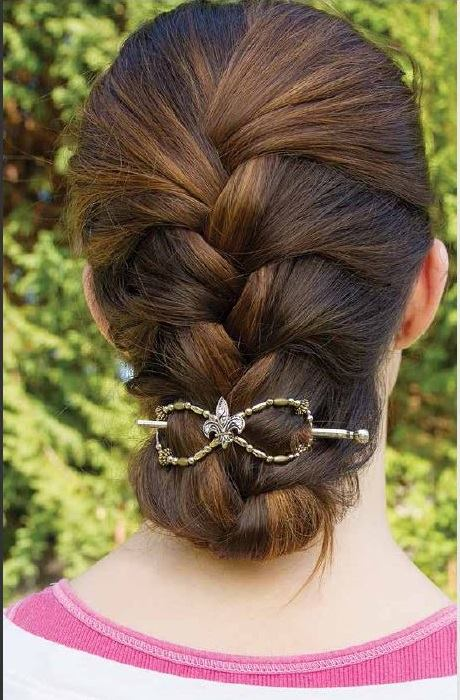 French braided and tucked under with a flexi clip