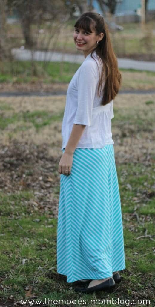 Teal Striped Maxi Skirt from Deborah and Co.   themodestmomblog.com