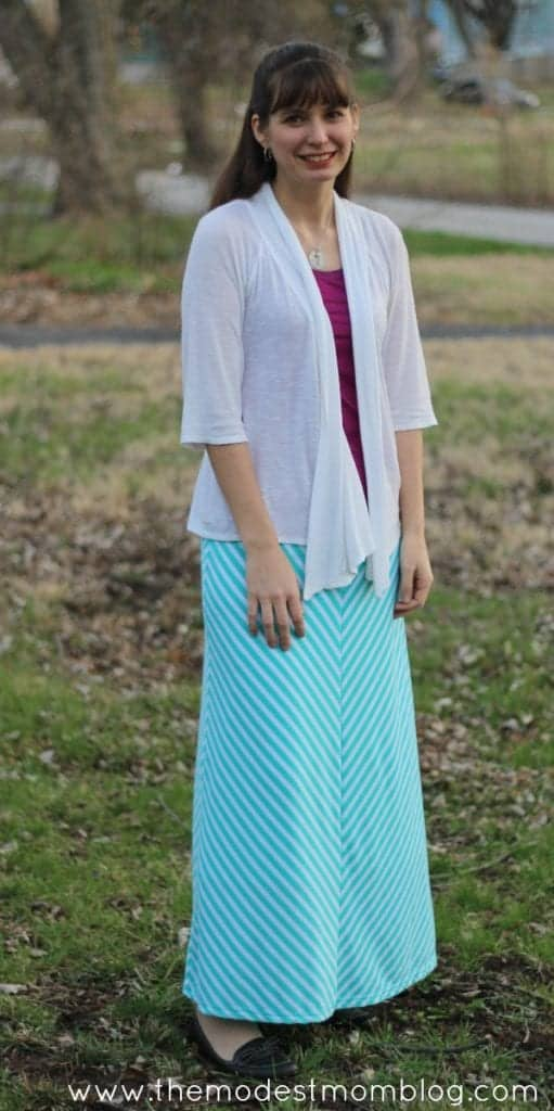 Teal Maxi Skirt from Deborah and Co!   themodestmomblog.com
