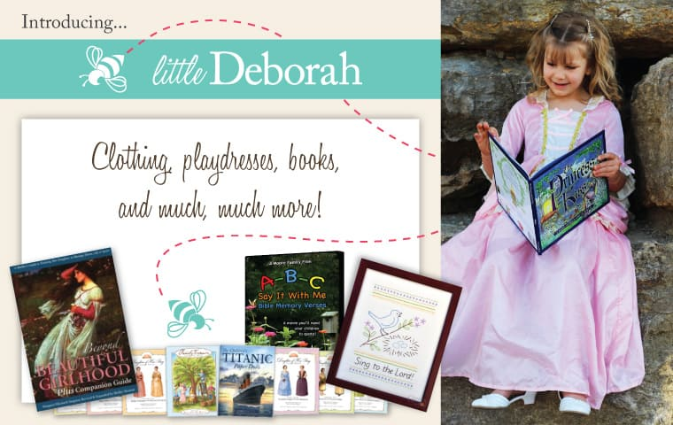 Deborah and Co. is expanding! Little Deborah is a whole new product line to Deborah and Co. Play dresses, books, stories, sewing kits, doll dresses, and paper dolls! | themodestmomblog.com