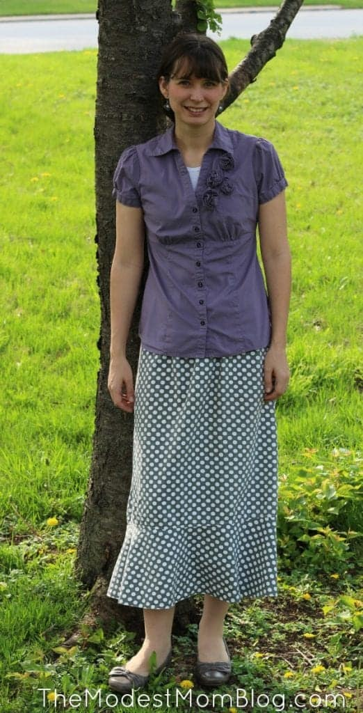 Gray Polka Dot Skirt