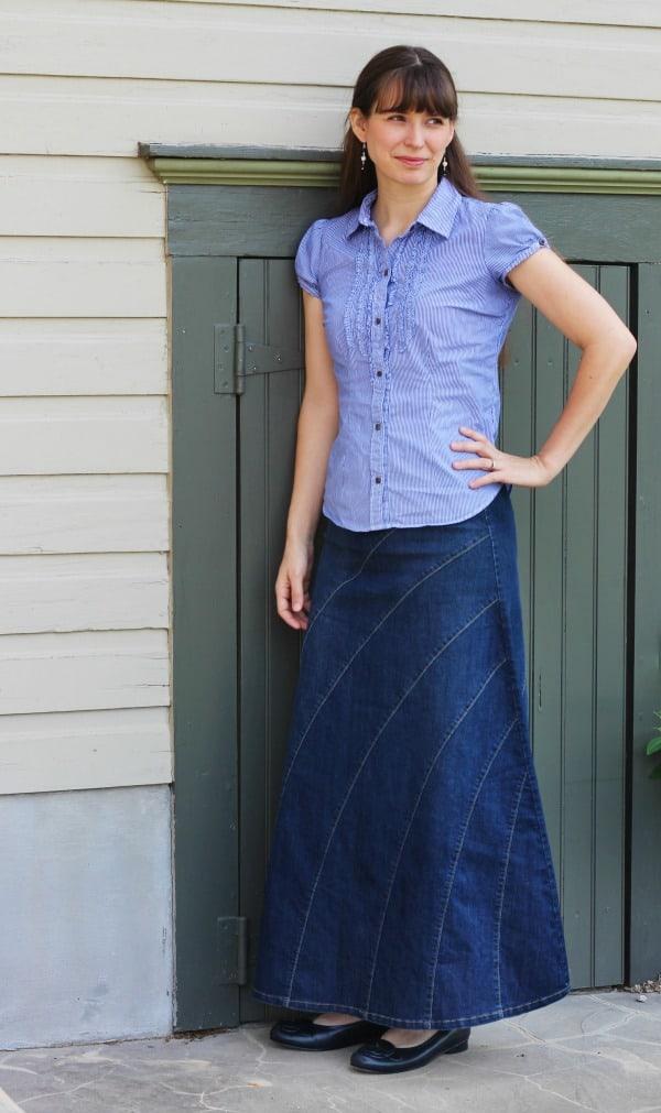 Rainbow Denim Skirt