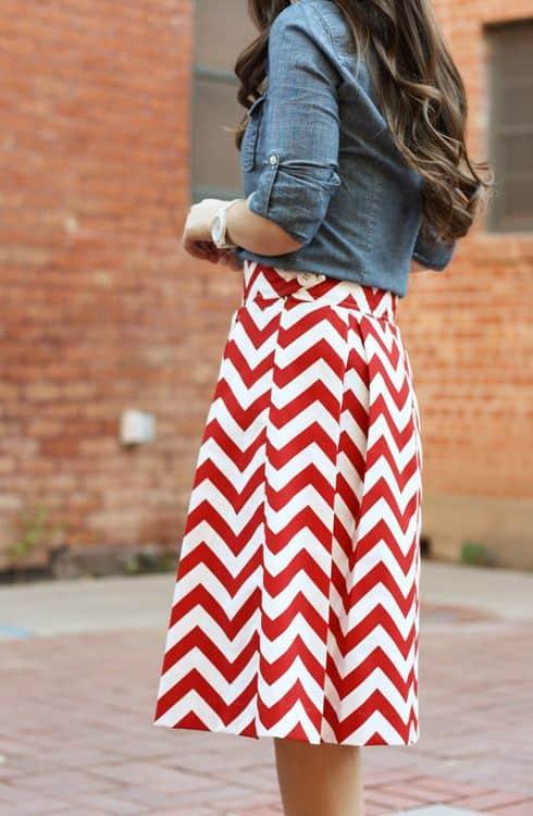 Red Chevron Skirt