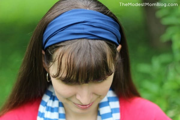 I wrapped a blue scarf around my head for an easy headband look!
