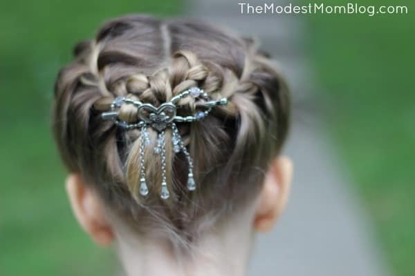 Braids and heart flexi clip for a sweet girl hairstyle