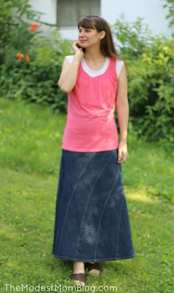 I love my rainbow Denim Skirt for an everyday skirt outfit.