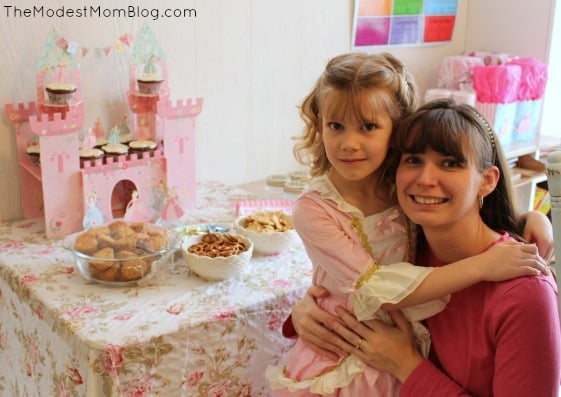 Enjoying a Princess party with my daughter