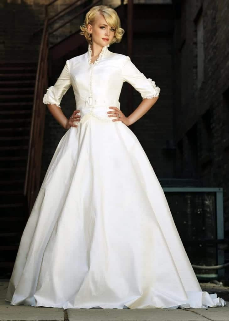 This two piece wedding dress reminds of the victorian time period.