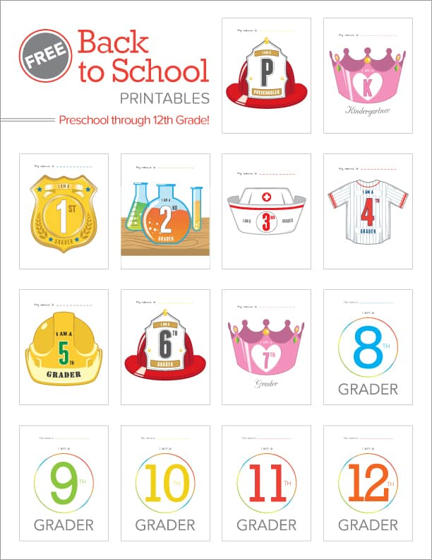 Back To School Printables for PK-12th grade!