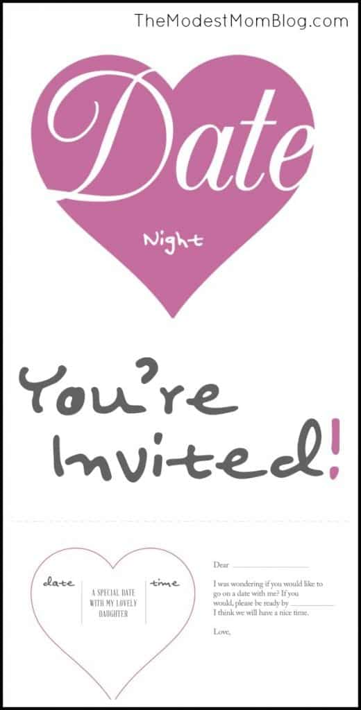 Date Night Invitation for Father/Daughter Date! Free Printable at www.themodestmomblog.com