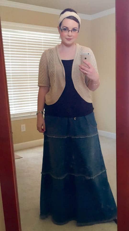 Denim skirt with an adorable cardigan and headband!