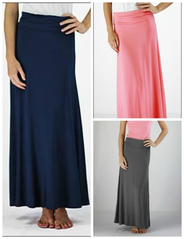 Maxi skirts are an essential list in my wardrobe! When you get solid color maxi skirts they go with everything!