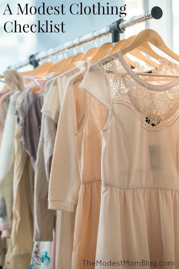 A Modest Clothing Checklist that  covers the basics of what is helpful to have in your closet! Tweak this list for your unique needs, but use it as a starting guide for creating your modest wardrobe! | themodestmomblog.com