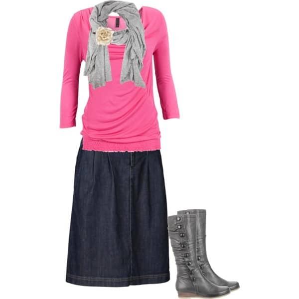 A cute, casual yet dressy way to wear a denim skirt!