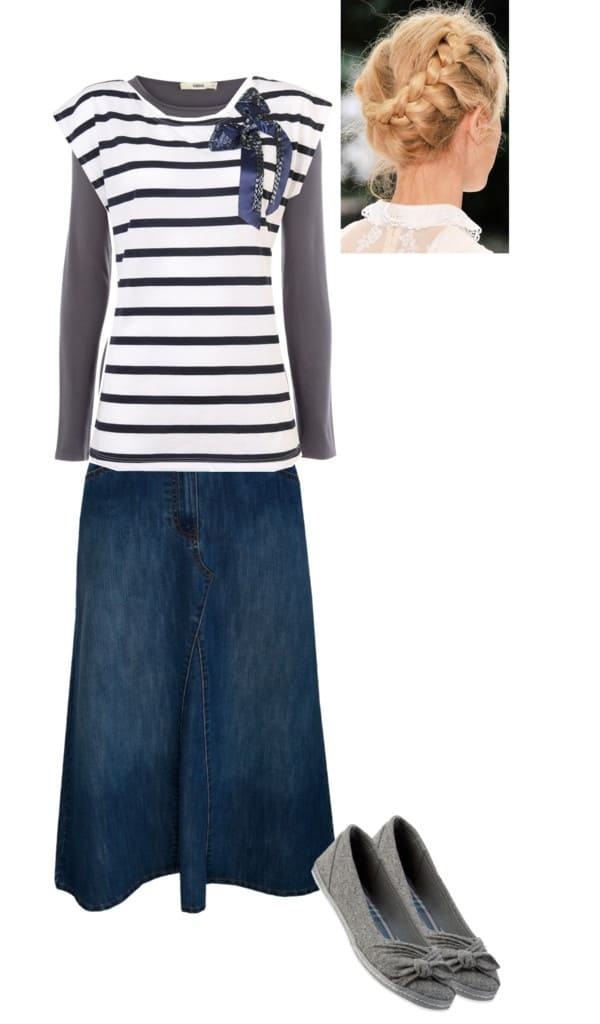 Casual, cute denim skirt outfit. Click through to see lots more ways to style a denim skirt!
