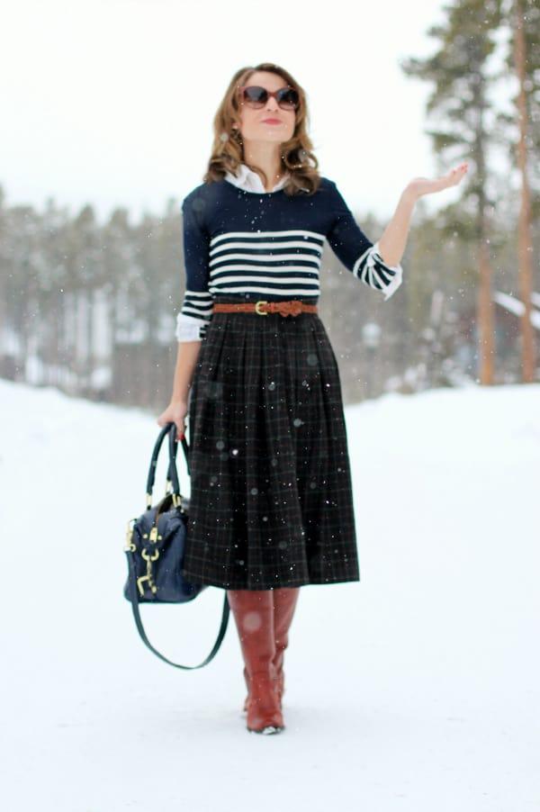 plaid-midi-skirt