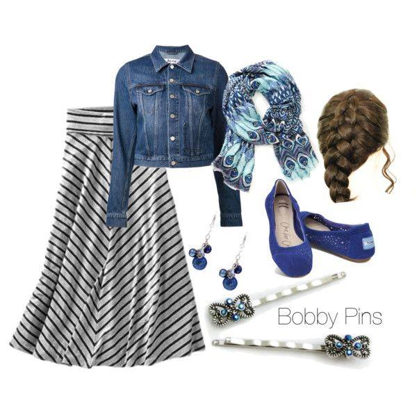A beautiful outfit for winter! I love the denim jean jacket with the scarf and striped maxi skirt!