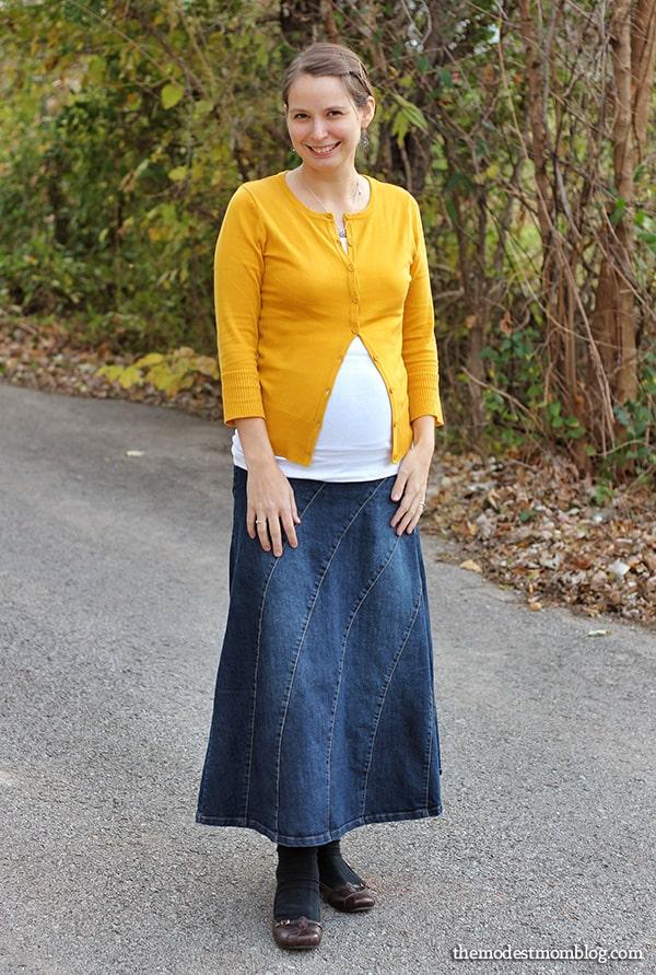 27938687f38 Denim Rainbow Maternity Skirt with Cardigan