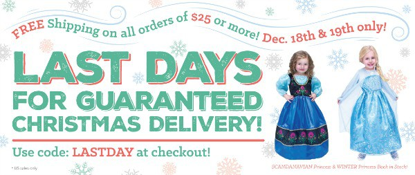 Two days only of free shipping on orders of $25 or more! Get Christmas delivery if you order by the 19th!
