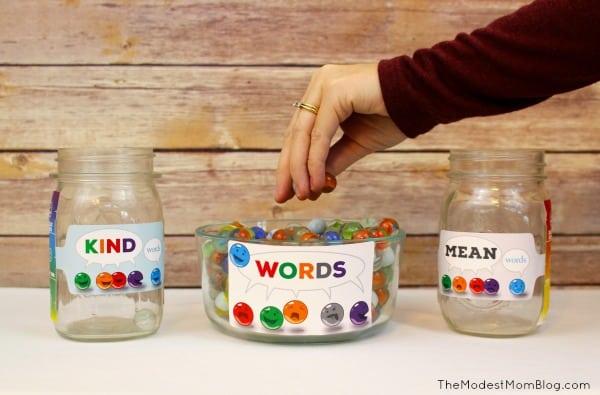 Wordmarbles Jar with Kind and Mean speech jars!