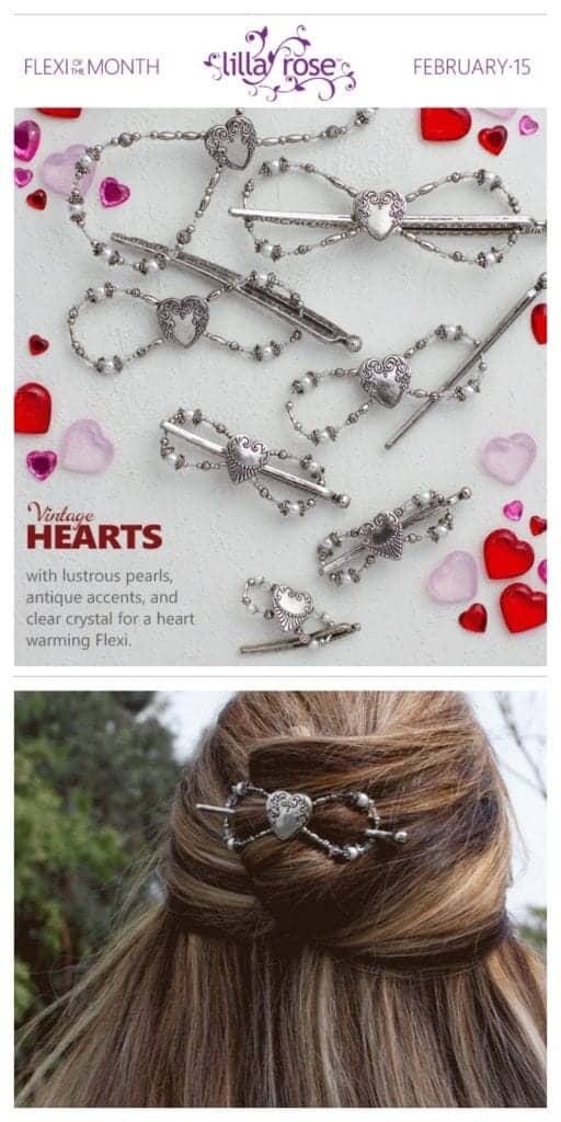Vintage Hearts Flexi Clip, available only in February!