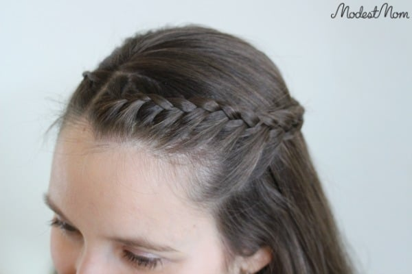 Crown of Braids Hairstyle - an easy way to fix your hair while growing out your bangs!