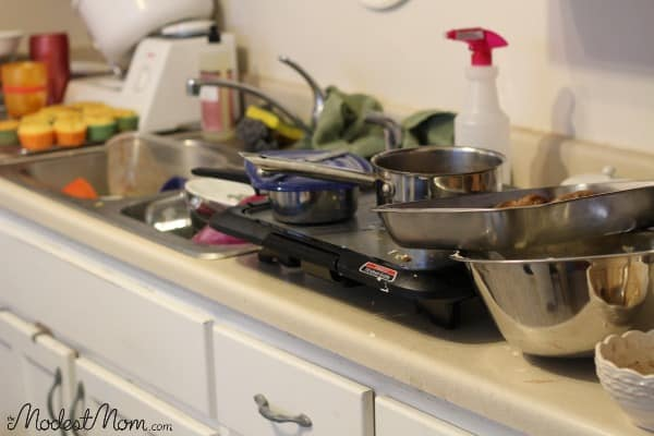 Dishes piled up