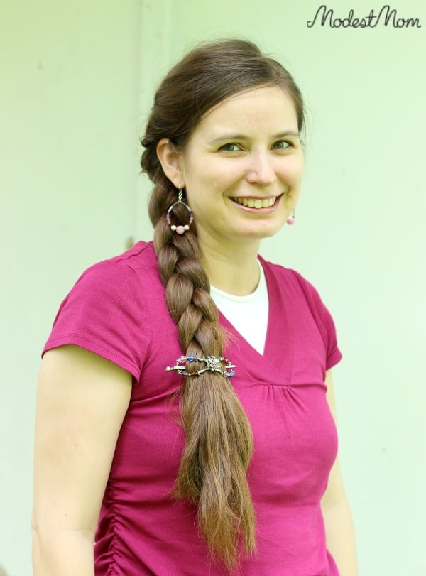 Side Braid with a twist in the back, held secure with LIlla Rose flexi clip!