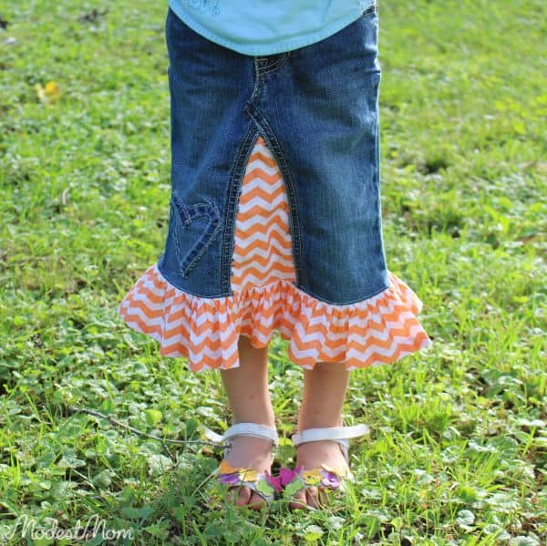 Modest Denim Skirt for Girls, made from jeans and added chevron fabric to it!