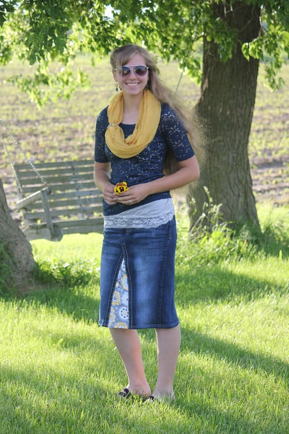 Denim Mid Length Skirt with Contrasting accent