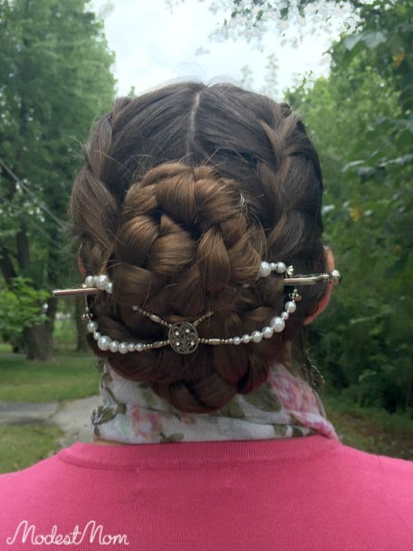 Hair in braids with Mega Size flexi clip