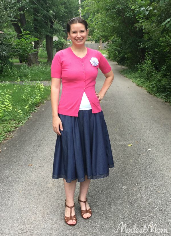 Pink sweater with chambray skirt from eShakti