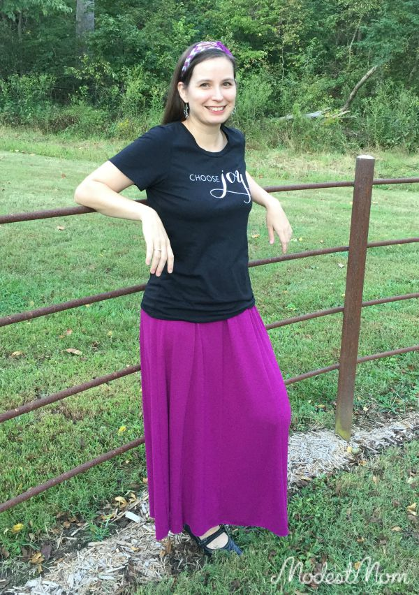 Choose Joy t-shirt with a purple maxi skirt and flower headband