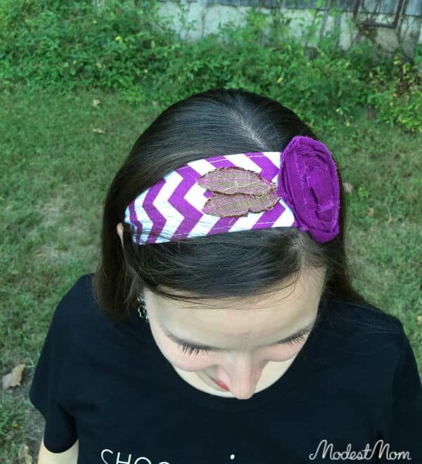 Purple Chevron Headband with flower