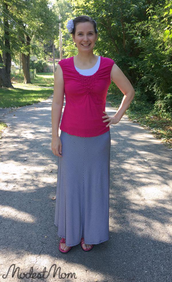 Maxi skirt with pink shirt