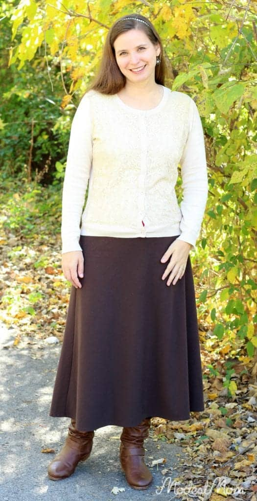Brown skirt and cream lace cardigan